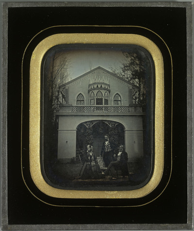 Jean-Gabriel Eynard sa femme et Charles Eynard devant la volière à Beaulieu