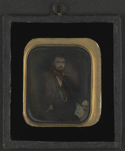 Image seriously corroded. The daguerreotype must have been kept a long time in a broken glass housing before it was moved to a new housing with black painted glass. It was taken Down from a wall in Peter Wessel Zapffes home in sept. 2008.