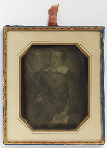 Daguerreotype of painting, portrait of Johannes Messenius. It's located in church in Oulu.