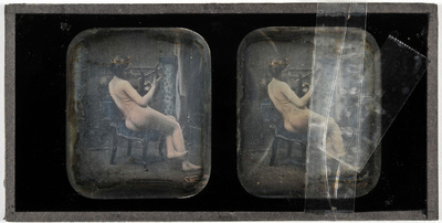 Erotic stereodaguerreotype of a woman playing a lyre