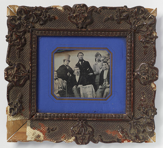 Group portrait of six gentlemen, man with turf is Mr. Forssén.  Other men are Leonard Helzen (Sundsvall), Tage E. Lukermann (Malmö), Fitslund (Sundsvall), Riedell (Flåm), Håkan Thomeé (Malmö).