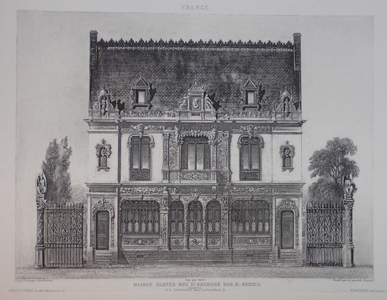 Reproduction of a drawn elevation of a small building with gates and trees on either side.