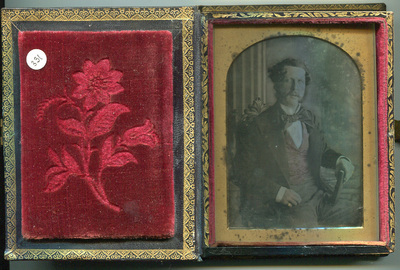 Tinted  portrait of waistcoat gentleman in 'Bijou' case.