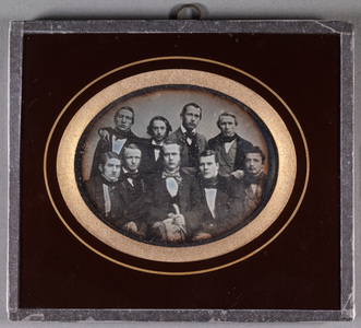 Group portrait of 9 young unknown men.