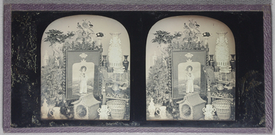 Stereo view, study of a group of decorative items including an ornate wood fire-screen, depicting a boy in sailor suit with rural view behind him and Prince-of-Wales feathers above the scene. A fancy basket with handle is hung over one of the knobs of the screen. Behind is a mount with stuffed birds,ornate flower-vases on either side, plant in a pot to the left, behind several figures in glass domes. In the left foreground is another larger potted plant, three ornate ceramics along the front: a jar with lid, a mug and a two-handled jar. In the front is a carrying box for a cat (?) or kennel. A chair to the right has a decorative waste-paper basket beneath, a model ship and tortoise shell on the seat, The table behind is covered with a cloth, and has a pile of books , a pair of dark vases, and a large oriental ceramic jar.