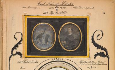 Datering: antatt før 1848 / dating: assumed before 1848.  Mål ovaler hxb: v: 77x60mm, h: 72x57mm. Mål sort felt hxb: 102x160mm. Mål scrapbook-side hxb: ca40x30cm. / Measurements oval windows hxw: L: 77x60mm, R: 72x57mm. Measeurements black field hxw: 102x160mm. Measurements scrapbook-page hxw: ca40x30cm.  Original i/in: Edvard Diriks: Scrapbooks. Protokoller med innklebede bilder (fotografier, tegninger, malerier), brev og dikt fra forskjellige kunstnere, diverse utklipp etc. som biografiske bidrag om forskjellige medlemmer av slekten Diriks og dens samtidige, men især om Edvard Diriks og hans familie. Håndskriftsamlingen Ms.fol 2071/Alb. II, side 78.