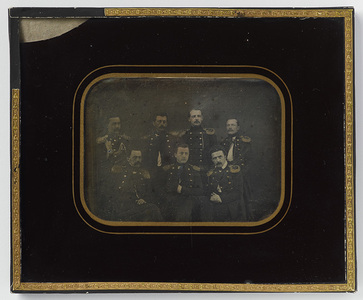 Group portrait of seven marine officers, (standing, left) O. Gadd, A. Hallberg, A. (Axel Fredrik) Boije, I. Gadd, (sitting,) O.M. Carpelan, unknown (Oscar von Kraemer), A. Elfsberg.