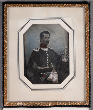 Portrait of Lieutnant Johan Wilhelm Brungström on a uniform, partly coloured.