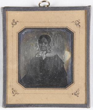 Frau mit weißer Haube, sitzend, Kniestück