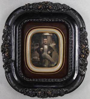 France. Daguerréotype coloré et incisé, 1/4 de plaque, 10,6 x 8,1 cm. Photo d'extérieur.