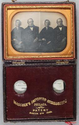 Etats-Unis. Daguerréotype stéréoscopique dans son écrin d'origine, 6,6 x 4,5 cm