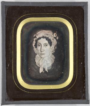 Gemäldereproduktion einer Frau mit weißer Haube, Brustbild.