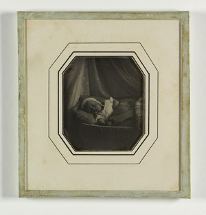 portrait of sleeping child, Johannes V Enschedé
