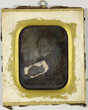 Gemäldereproduktion eines Mannes, Brustbild.