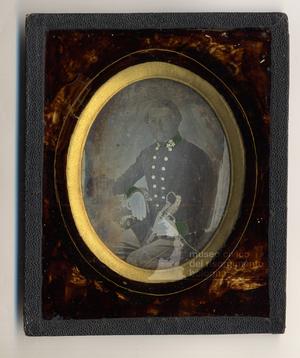 Ufficale dell'esercito austriaco, di stanza a Bologna nel 1850 holding a swort in his hand