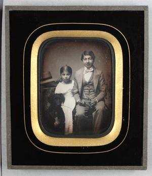 France. Daguerréotype, 1/4 de plaque, 8,7 x 6,7 cm. Hermann Sainte Marie Sabran (31 août 1837 – 25 octobre 1914) fut Président honoraire des Hospices de Lyon et Officier de la Légion d'Honneur.