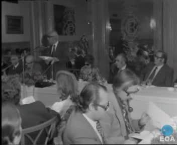 Πρόγευμα της Ένωσης Ανταποκριτών Ξένου Τύπου στο ξενοδοχείο «Μεγάλη Βρετανία» προς τιμήν του Υπουργού Προεδρίας της Κυβερνήσεως Γεώργιου Ράλλη.