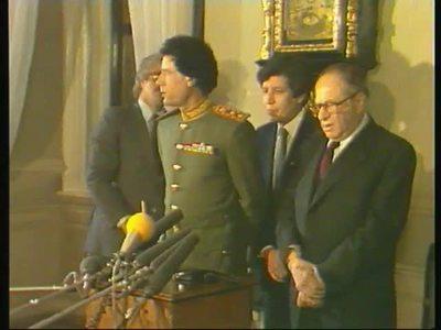 Muammar al-Gaddafi und Außenminister Pahr
