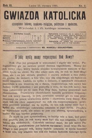 Gwiazda Katolicka : czasopismo religijno-naukowe, społeczne i beletrystyczne. 1891, nr 2