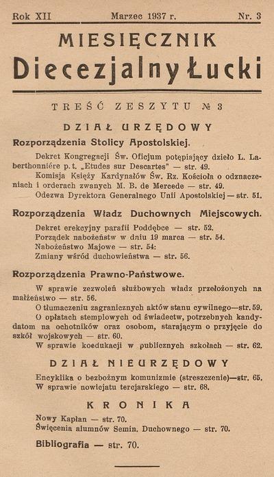 Miesięcznik Diecezjalny Łucki. 1937, nr 2