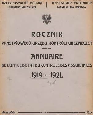 Rocznik Państwowego Urzędu Kontroli Ubezpieczeń. 1919/1921