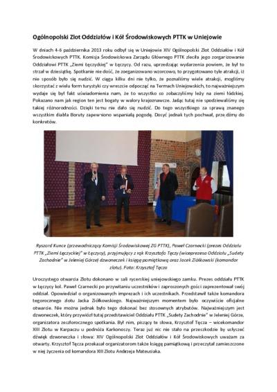 Ogólnopolski Zlot Oddziałów i Kół Środowiskowych PTTK w Uniejowie [Dokument elektroniczny]