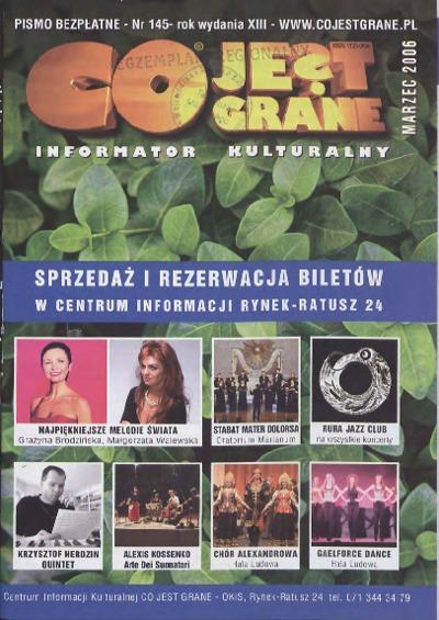 Co Jest Grane : informator kulturalny, 2006, nr 3 (145)