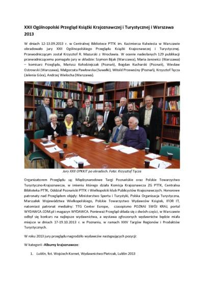 XXII Ogólnopolski Przegląd Książki Krajoznawczej i Turystycznej : Warszawa 2013 [Dokument elektroniczny]