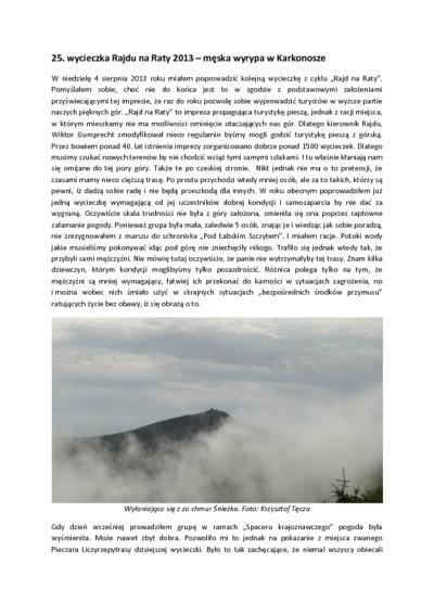 25. wycieczka Rajdu na Raty 2013 - męska wyrypa w Karkonosze [Dokument elektroniczny]3