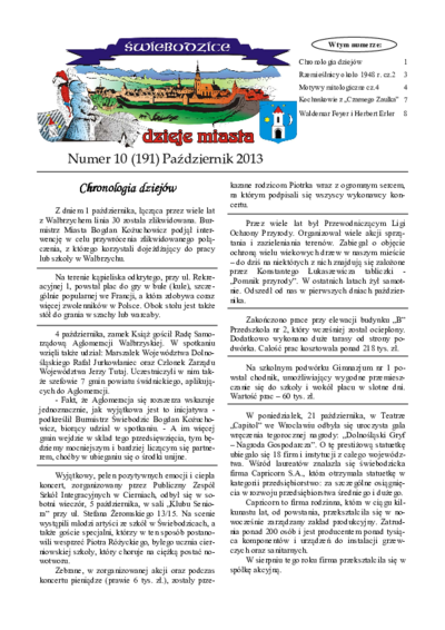 Świebodzice - Dzieje Miasta, 2013, nr 10 (191) [Dokument elektroniczny]