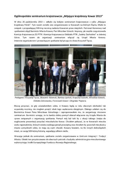 Ogólnopolskie seminarium krajoznawcze Mijające krajobrazy Kowar 2013