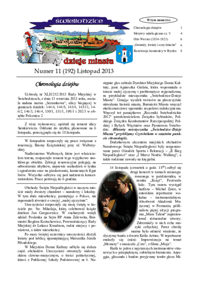 Świebodzice - Dzieje Miasta, 2013, nr 11 (192) [Dokument elektroniczny]