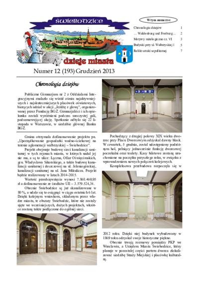 Świebodzice - Dzieje Miasta, 2013, nr 12 (193) [Dokument elektroniczny]