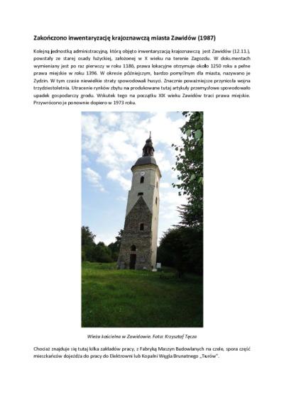Zakończono inwentaryzację krajoznawczą miasta Zawidów [Dokument elektroniczny]