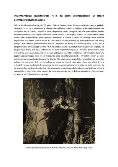 Inwentaryzacja krajoznawcza PTTK na Ziemi Jeleniogórskiej w latach osiemdziesiątych XX wieku [Dokument elektroniczny]