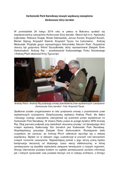 Karkonoski Park Narodowy nowym wydawcą czasopisma Karkonosze Góry Izerskie [Dokument elektroniczny]