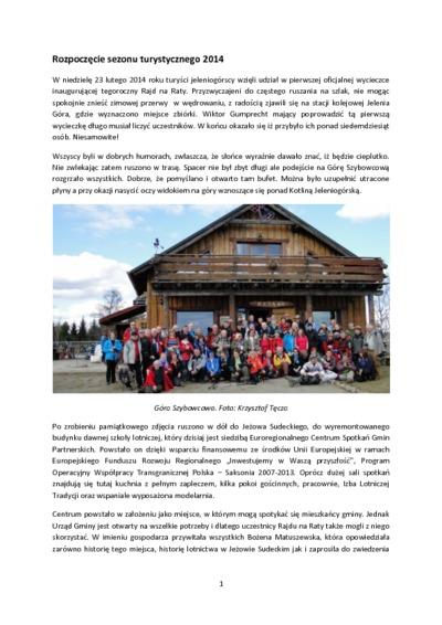 Rozpoczęcie sezonu turystycznego 2014 [Dokument elektroniczny]