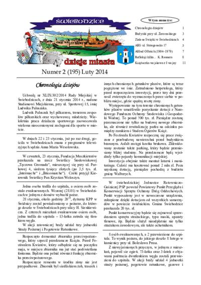 Świebodzice - Dzieje Miasta, 2014, nr 2 (195) [Dokument elektroniczny]
