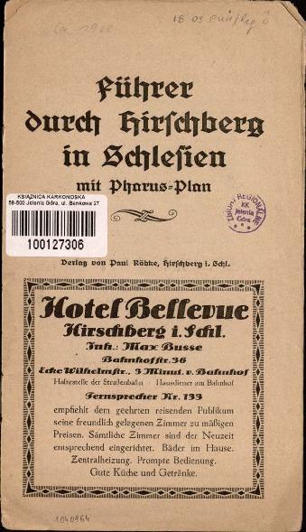 Führer durch Hirschberg in Schlesien : mit Pharus-Plan