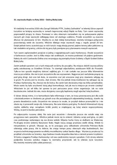 31. wycieczka Rajdu na Raty 2016 – Doliną Białej Łaby [Dokument elektroniczny]