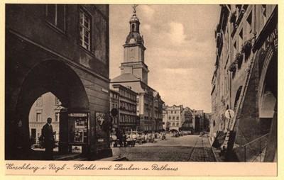 Hirschberg i. Rsgb. - Markt mit Lauben u. Rathaus [Dokument ikonograficzny]