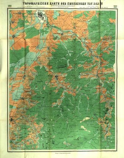 Topographische Karte der Umgebungen von Baden Mit Höhen-Courven von 80 bad. Fuss verticalem Abstand