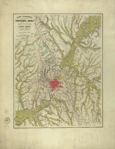 Carta topografica dei cantoni di Roma ridotta alla mezza scala dalla pianta levata in 1845 e 1846 per il Barone di Moltke Ajutante in campo di S.A. Reale il Principe Enrico di Prussia