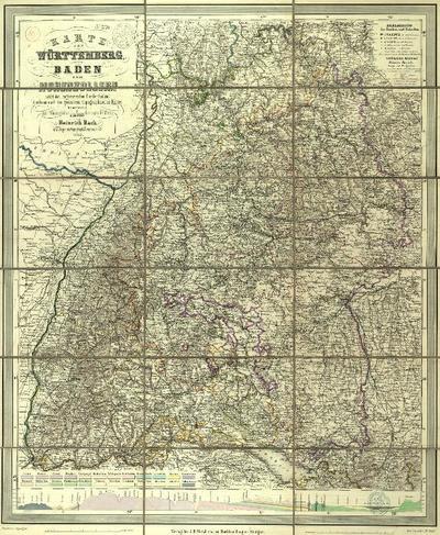 Karte von Württemberg, Baden und Hohenzollern nebst den angränzenden Ländertheilen