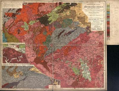 Geologische Karte des Königreiches Böhmen Mitte, Süden und Westen