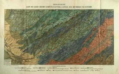 Geologische Karte der Gegend zwischen Laubhütte, Clausthal, Altenau, dem Bruchberge und Osterode Aufnahme von 1878-1884 vervollständigt durch spätere Beobachtungen