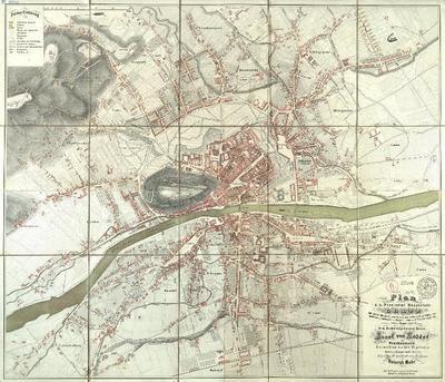 Plan der k. k. Provincial Hauptstadt Gratz mit allen bis jetzt neu bewirkten oder noch in Kürze zur Ausführung kommenden Bauten, dann mit Bezeichnung der neuen Hausnummern