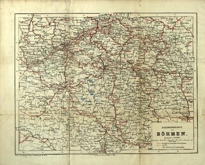 Eisenbahn-Karte von Oesterreich-Ungarn nebst Uebersichtskarte der Eisenbahnen Böhmens