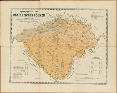 Hydrographische Karte des Königreiches Böhmen mit Angabe der Wasserscheiden und Flussgebiete nebst Flussgebiets-Tabelle