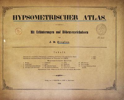 Hypsometrischer Atlas Mit Erläuterungen und Höhenverzeichnissen